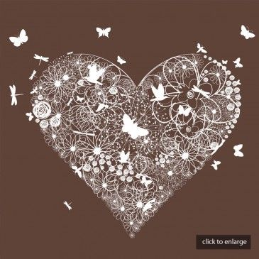 Chocolate & White Butterfly Heart Wedding Invitations