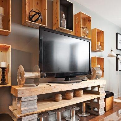 Coin-télé en mode recyclé - Salon - Inspirations - Décoration et rénovation - Pratico Pratique