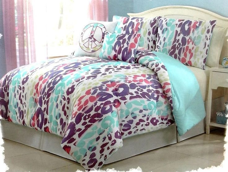 Details About Girls Bedding Blue Pink Purple Leopard Bed