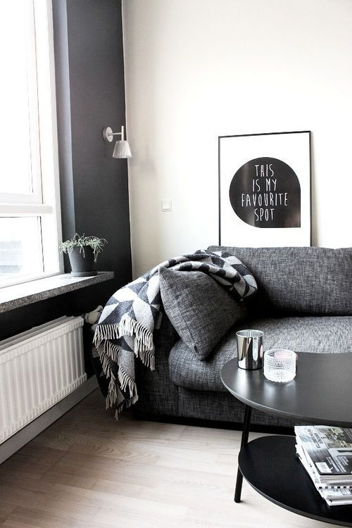 Kinda want a big gray couch. Like the blanket. Different art, needs a hippie's touch, je pense.