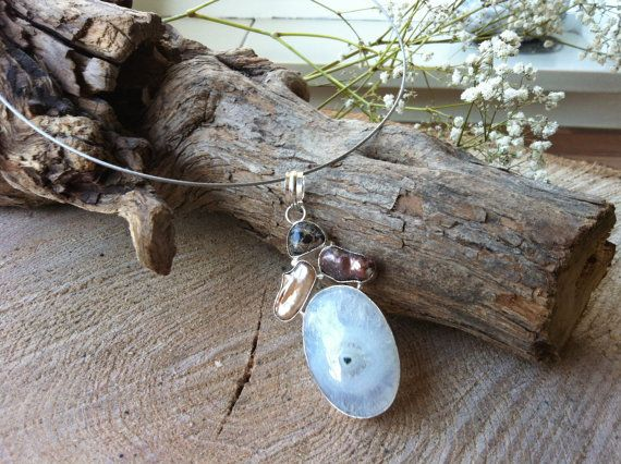 Silver plated pendant with solar quartz biwa pearl and turritella agate on choker