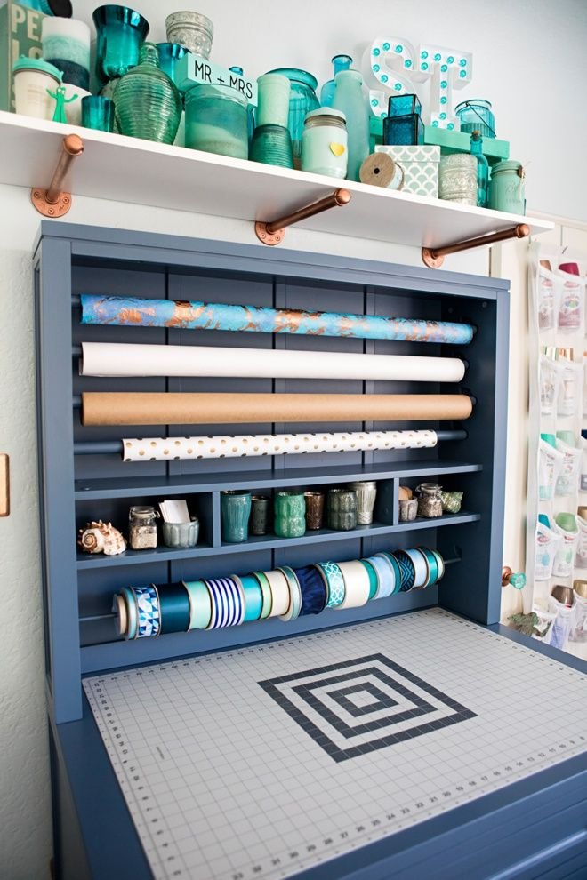 Something Turquoise Craft Room + Blog Office, gift wrap hutch.