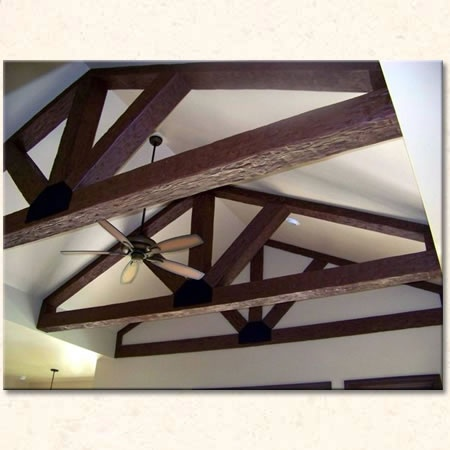 17 best design ideas great room images on pinterest for Faux wood trusses