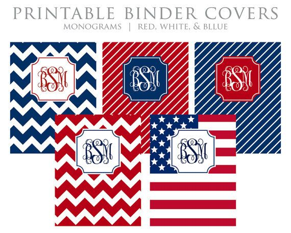 Printable Binder Covers - Monogram - Chevron - Stripes - Flag - Red, White, Blue