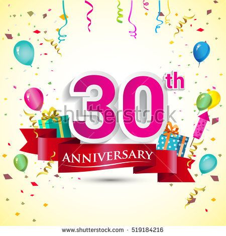 30th Years Anniversary Celebration Design, with gift box and balloons, red ribbon, Colorful Vector template elements for your birthday party.
