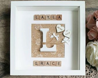 Personalised New Baby Frame, New Baby Gift, Christening Present, Baby Photo Frame, Keepsake Gift, Scrabble Letter Frame, Handmade Baby Gift
