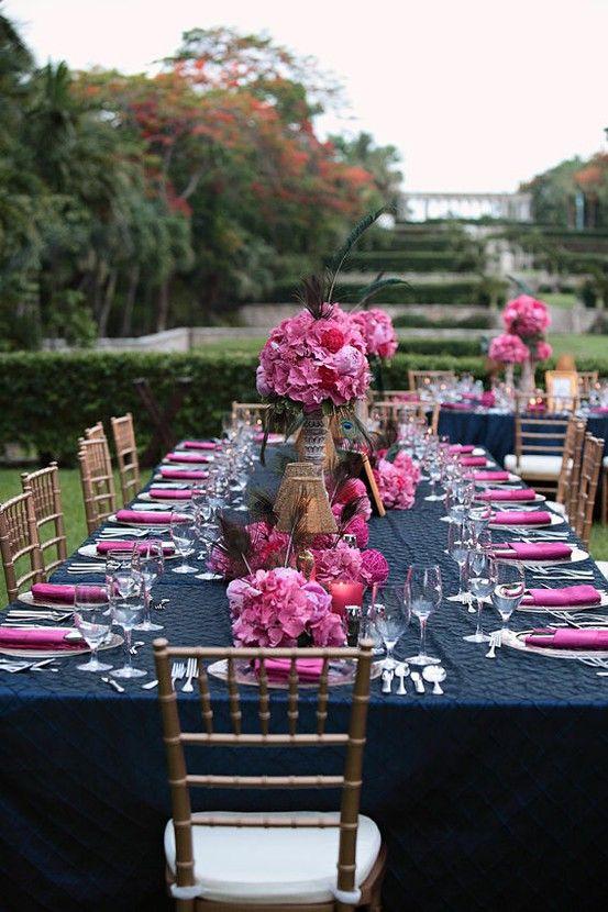 Deco bleu marine rose mariage idee
