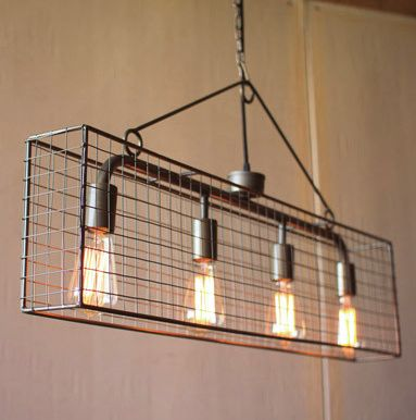 Kalalou Four Bulb Wire Mesh Horizontal Pendant Light - This wire mesh pendant lighting fixture is just scrumtious in every way. I can see it over a dining room table, in a game room over a pool table. Anywhere you wish to have a touch of urban or industrial farmhouse in your setting.