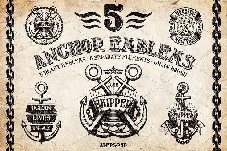 Marine Anchor Logos by DreamBikeShop on @creativemarket
