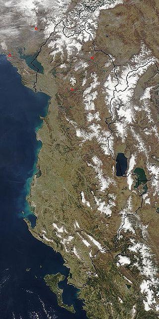 A satellite image of Albania ◆Albania - Wikipedia https://en.wikipedia.org/wiki/Albania #Albania