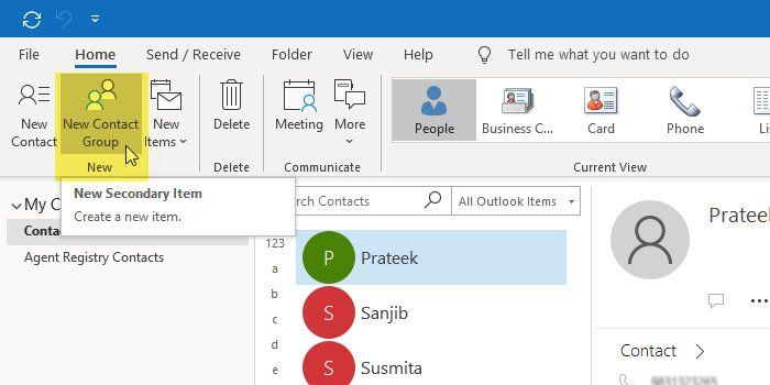 How To Create A Contact Group In Outlook And Send Email In Bulk Create Email Outlook People App