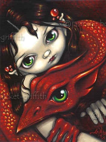 Elf Maiden and Her Dragon gothic fantasy fairy art print by Jasmine Becket-Griffith 12x16 BIG