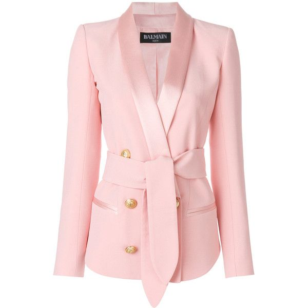 Balmain double-breasted tuxedo blazer ($2,550) ❤ liked on Polyvore featuring outerwear, jackets, blazers, pink jacket, pink tuxedo jacket, evening jackets, balmain blazer and dinner jacket