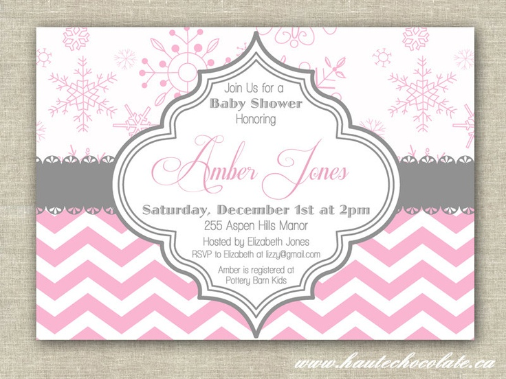 Winter Baby Shower Invitation. Modern Chevron U0026 Snowflake Baby Shower,  Bridal Shower Or Birthday Invitation. DIY Printable Invite