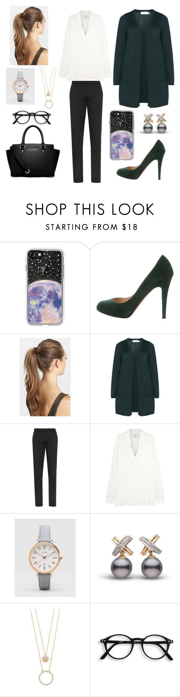 """""""Work"""" by luciannamax ❤ liked on Polyvore featuring Casetify, Christian Louboutin, France Luxe, Zizzi, Vince, FOSSIL, Kate Spade and MICHAEL Michael Kors"""