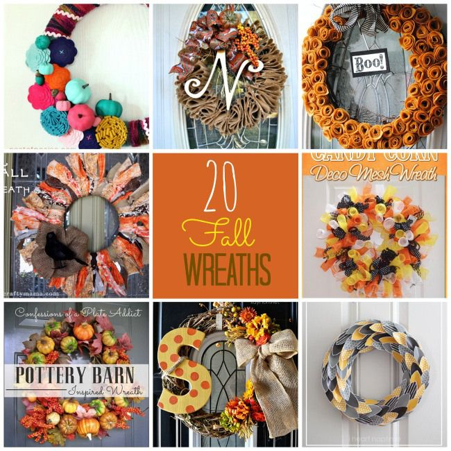 20 DIY Fall Wreath Ideas: 20 Diy Fall Wreaths Ideas, Fall Decor, Diy'S, Wreath Ideas, Holidays, Fallwreath, 20 Fall, Great Ideas, Crafts