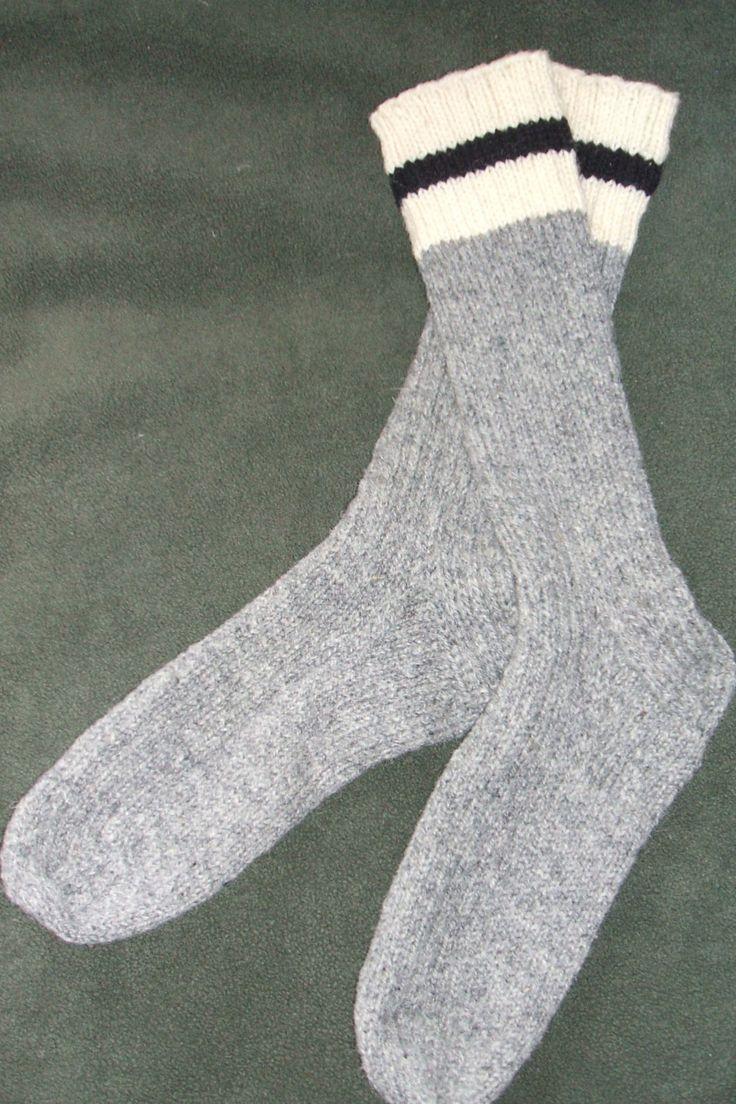 "Men's Hand knit Wool Socks - XL--14"" tall--Light Grey by soxylady on Etsy"