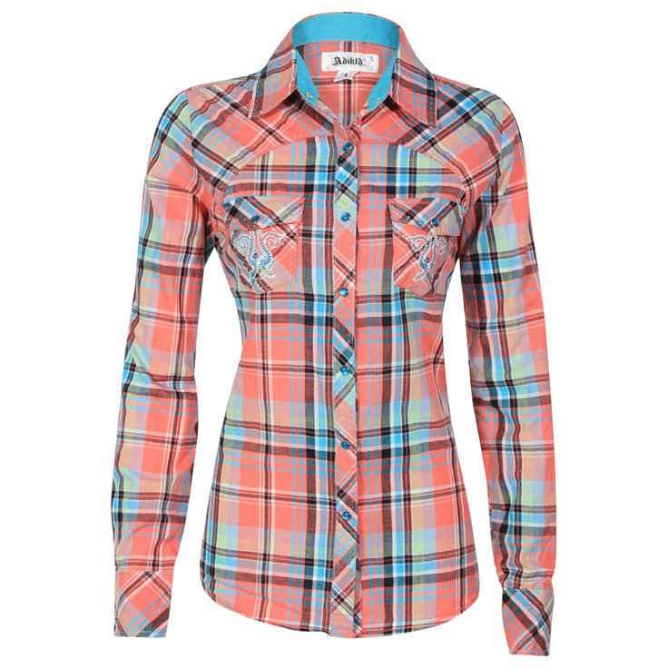 Adiktd Women's Long Sleeve Plaid Print Western Shirt $54.99