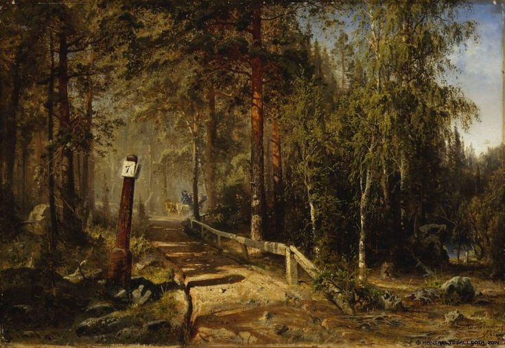 Werner Holmberg (1830-1860) Postitie Hämeessä / Mail Road in Häme 1860 - Finland - Finnish horses
