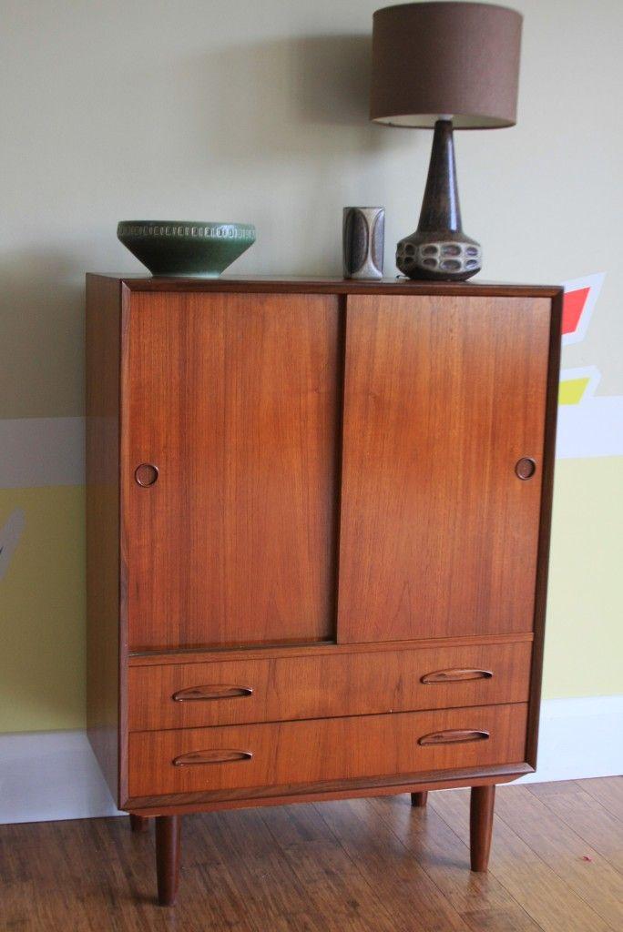 Danish Modern Teak Cabinet And Ceramics Beauty Cabinets Modern Teak