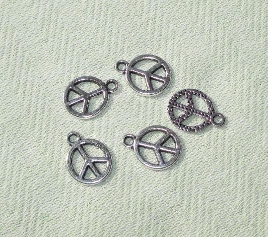 Silver Tone Peace Sign Symbol Charms - 4 pcs - Jewelry Making Supplies