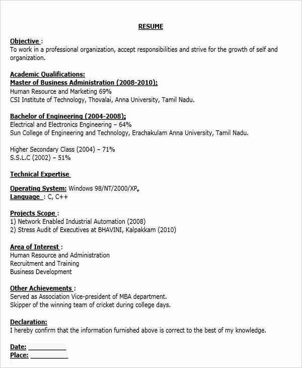 Business Development Executive Resume Awesome 40 Fresher Resume Examples