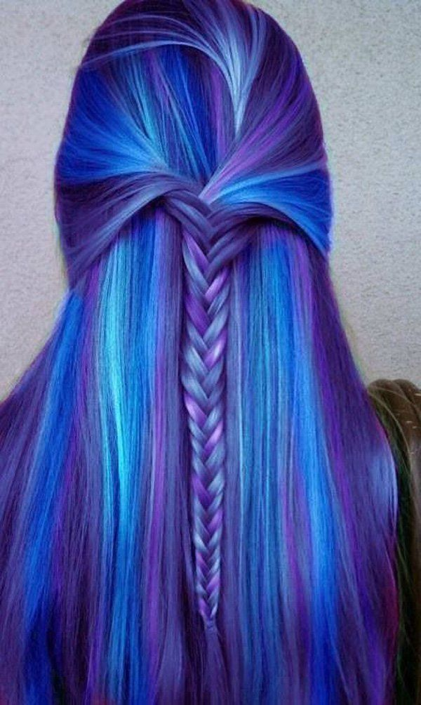 Purple and blue hair color combination. A rather popular hair color choice nowadays where the color scheme can make your hair look like it's the galaxy skies.