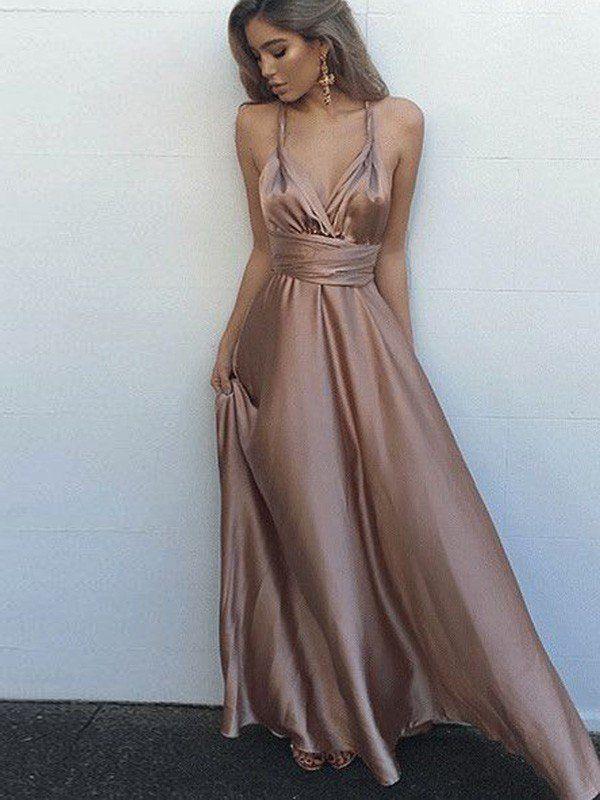 62a67868ee A-Line Princess Sleeveless Spaghetti Straps Satin Floor-Length  Sash Ribbon Belt Dresses