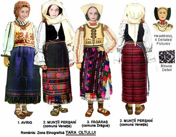 Romania Folk Natioanl Ethnic Popular Costumes-Transylvania