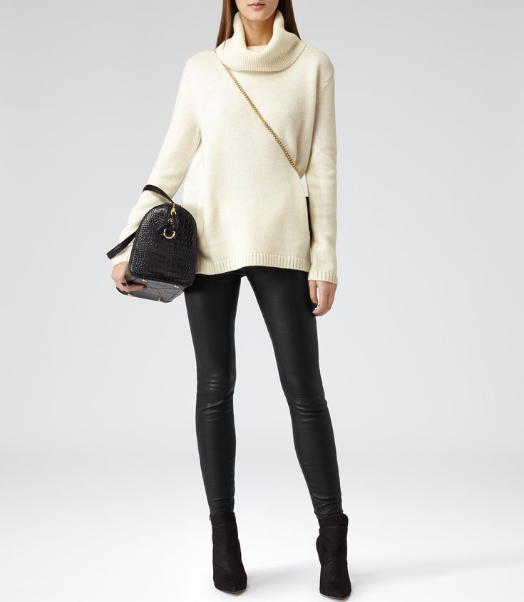Womens Chalk Embellished Roll-neck Jumper - Reiss Malin