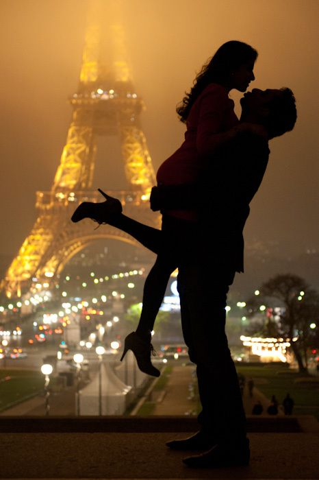 'french kiss' under the Eiffel Tower...