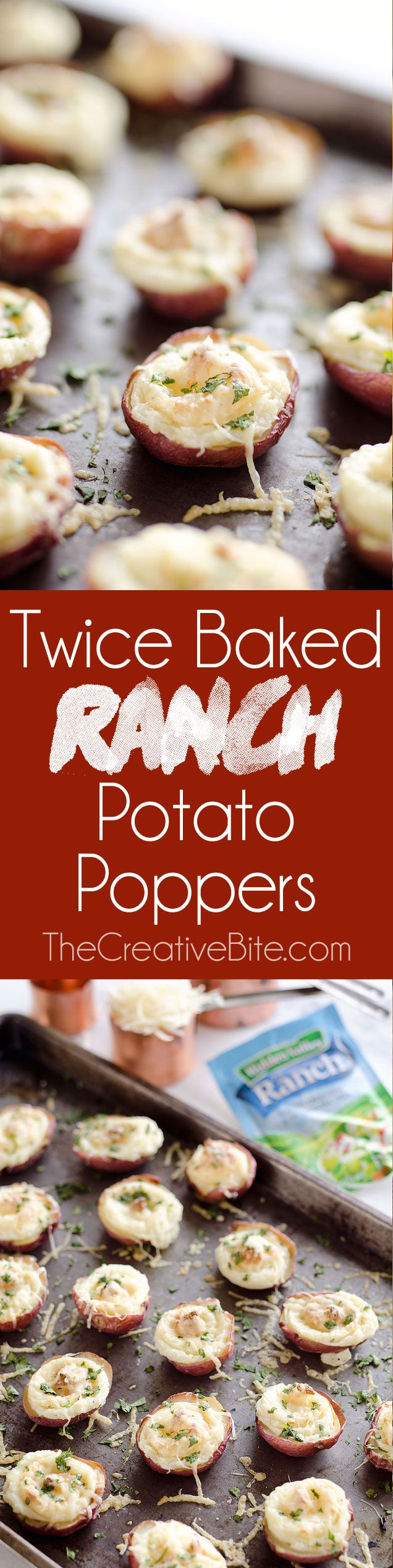 Twice Baked Ranch Potato Poppers - A crowd-pleaser with light and fluffy mashed potatoes mixed with Hidden Valley Ranch seasoning and light sour cream in a potato skin topped with shredded Parmesan for the perfect bite-sized appetizer!