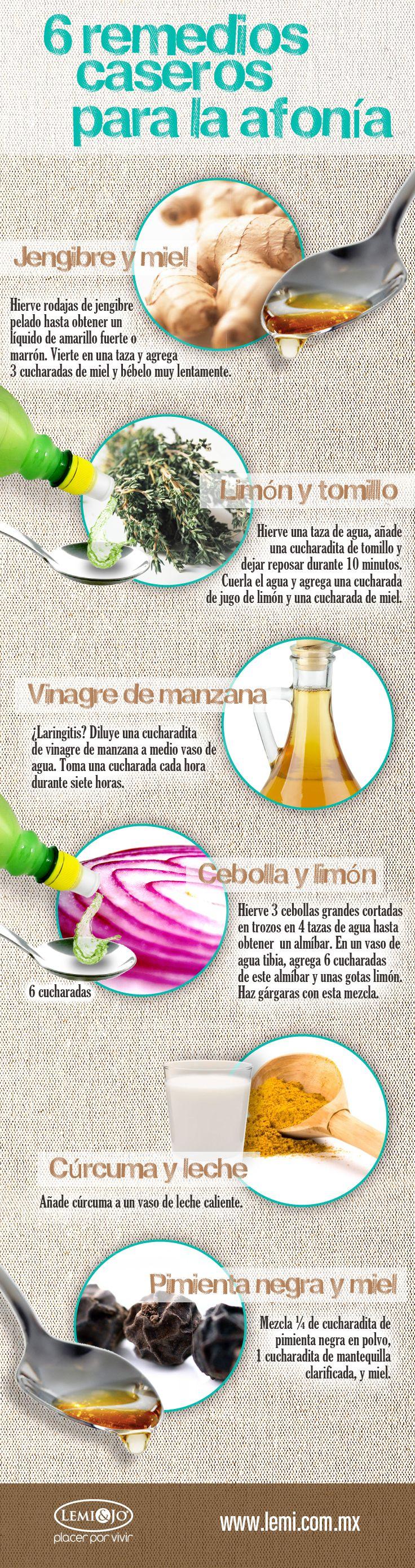 Infografía: 6 #remedios caseros para la afonía. #salud y #bienestar