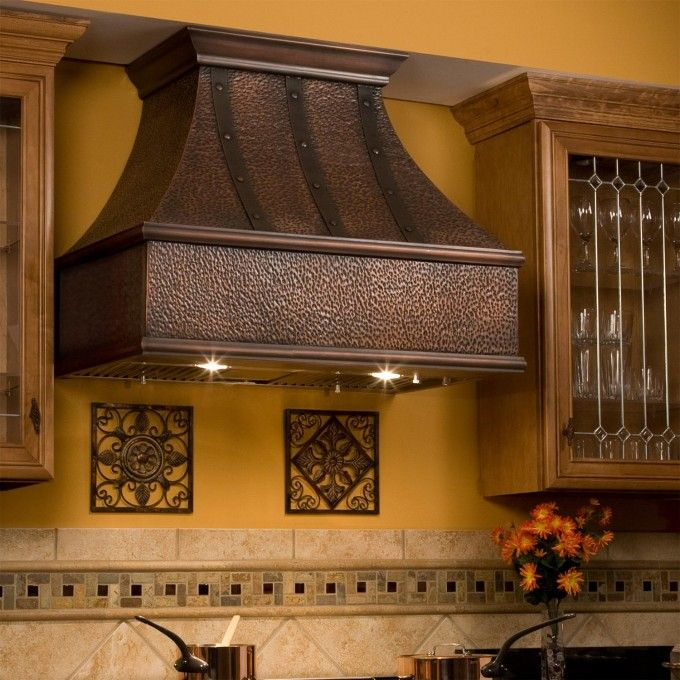 "36"" Tuscan Series Copper Wall-Mount Range Hood - Riveted Bands"