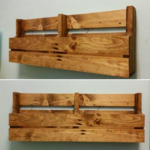 Reclaimed Pallet Wood 2 Pocket Wall/Floor Organizer. Mail holder, file holder, magazine rack, vinyl record storage, office decor, kitchen decor.