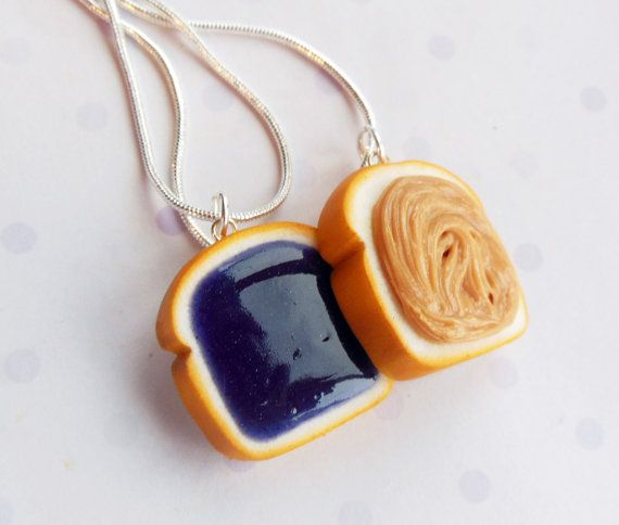 grape peanut butter and jelly best friend necklaces polymer clay bff necklaces