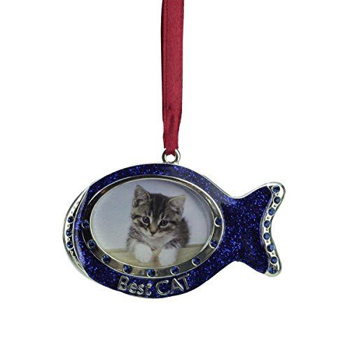 Felices Pascuas Collection 3 inch Regal Shiny Silver-Plated Blue inch Best Cat inch Fish Picture Ornament with European Crystals