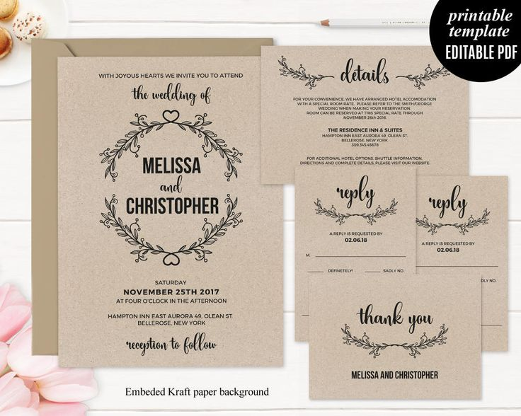 Best Wedding Invitations Images On   Pdf Template