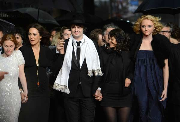 (From R) British actress Lily Cole, French director Sylvie Verheyde, British actor Pete Doherty and French actress Karole Rocher arrive for the screening of