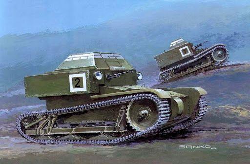 Tanquetas rusas T27 , inspiradas por las Carden-Lloyd británicas. El prodigioso esfuerzo de mecanización del Ejército Rojo en los años 30 quizás parezca un derroche vano de recursos ya que tantos miles de carros acabaron como chatarra, aún antes de la invasión alemana de 1941, pero sentaron las bases de la industria para los futuros carros T-34 , KV, Stalin y sus derivados. Más en www.elgrancapitan.org/foro/