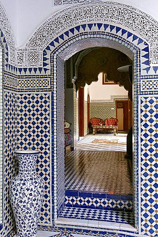 Interior of the Riad El Yacout in Fez, Morocco                                                                                                                                                                                 More
