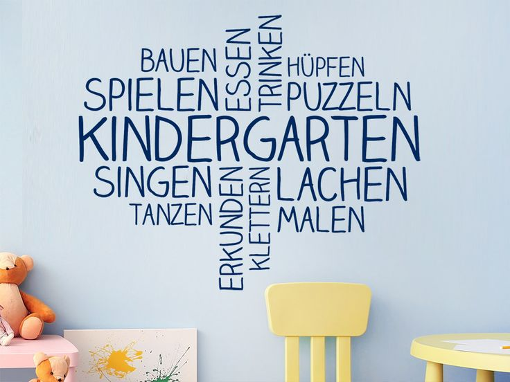 Wandtattoo Wortwolke Kindergarten in blau