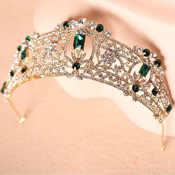 2016 New Baroque gold dark green rhinestone aristocratic nobility bride crown headdress bride tiaras e coroas