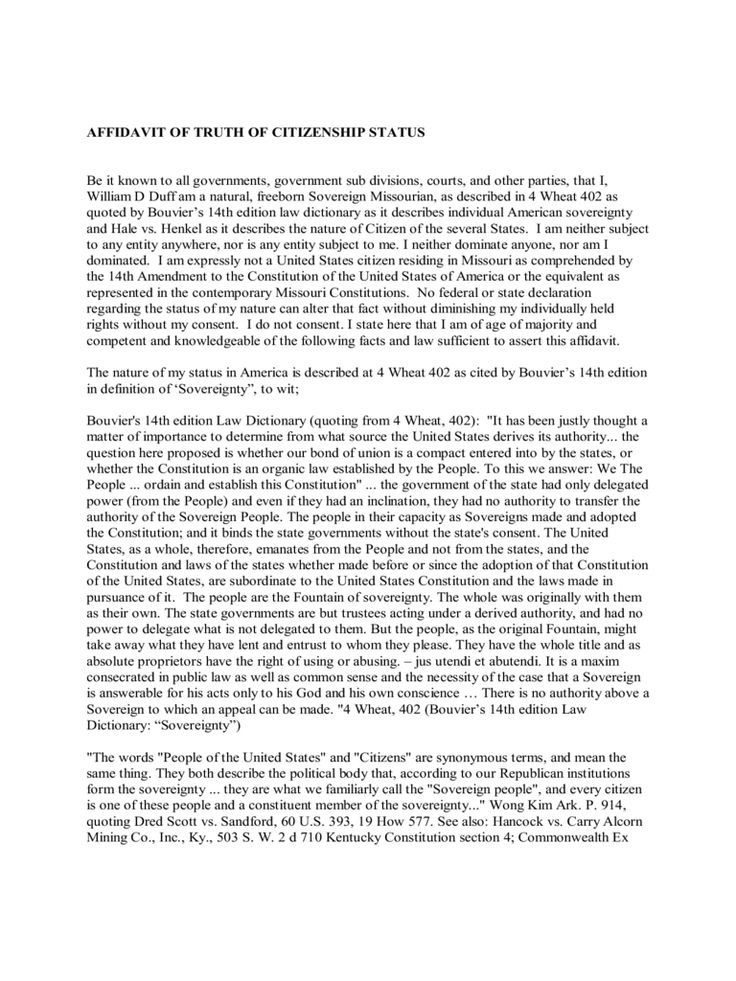 Sovereignty Affidavit Of Truth Made Simple Template Example - new 10 sworn statement examples