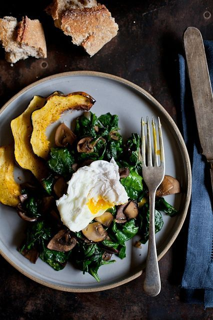 Poached Egg, Sauteed Spinach & Mushrooms by tartelette