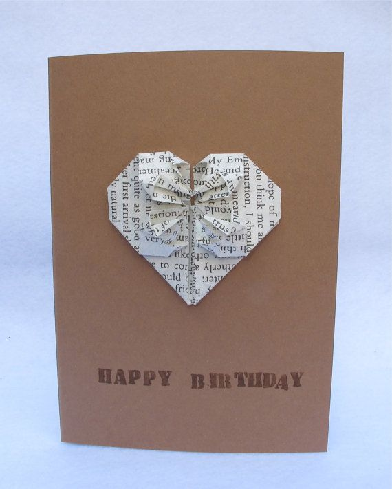 A handmade origami heart birthday card, wedding anniversary card or thank you card. The origami heart is carefully folded using pages of an old Jane Austin novel. An A6 brown card with white envelope. Blank inside.  Happy Birthday, Happy Anniversary or Thank You can be stamped directly on to the card. This card is a lovely idea for a 1st wedding anniversary, as the traditional gift for the 1st year anniversary is paper :)
