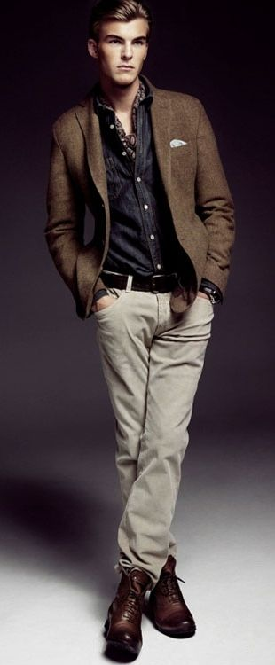 Brown Wool Blazer, Denim Shirt, Scarf, and Fitted Jeans. Men's Fall Winter Fashion.