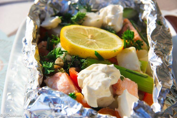 Fiskpaket Med Philiadelphiaost Och Fräscha Grönsaker  12 Propoints