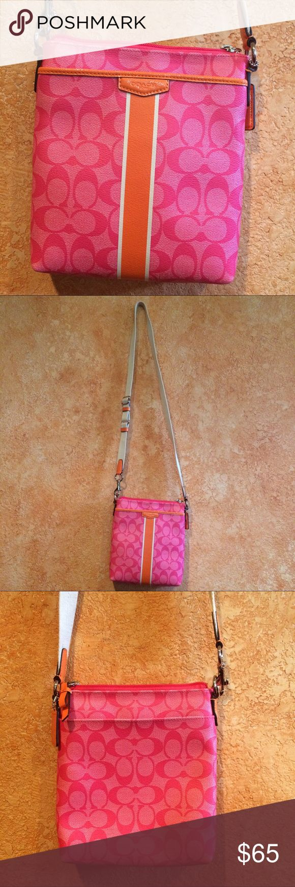 Coach Swingpack crossbody pink handbag Authentic Coach crossbody swingpack, pink and orange, adjustable strap, tan strap, interior has one side pocket, two outside pockets, there is a tiny spot on the bottom of the strap shown in the last picture but other than that it's in great condition. Coach Bags Crossbody Bags