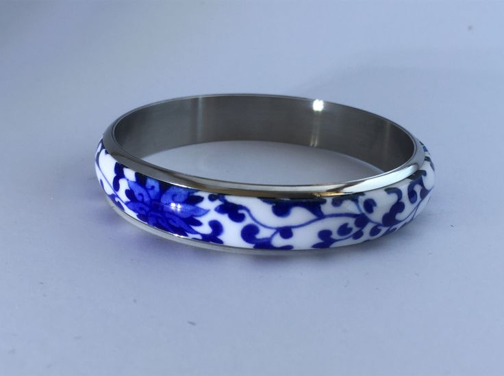 Underglazed blue & white ceramic bangle. Comes in 2 sizes - 63 mm and 68 mm diameter. See more at www.eleganz-n-grace.com